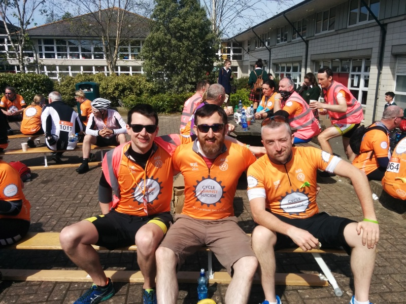 Ciaran, Dom and Tim taking a much deserved break during Cycle Against Suicide 2016
